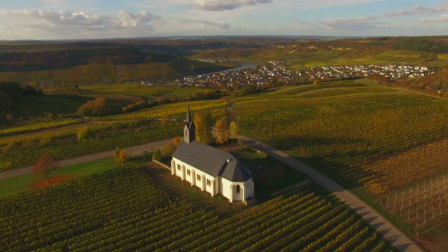 St. Roch's Church in vineyards in autumn near Nittel, Obermosel, Moselle Valley, Rhineland-Palatinate, Germany