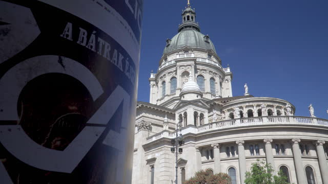 st. stephen's basilica in budapest, hungary, low angle point of view while sightseeing on a city street in summer - traditionally hungarian stock videos & royalty-free footage