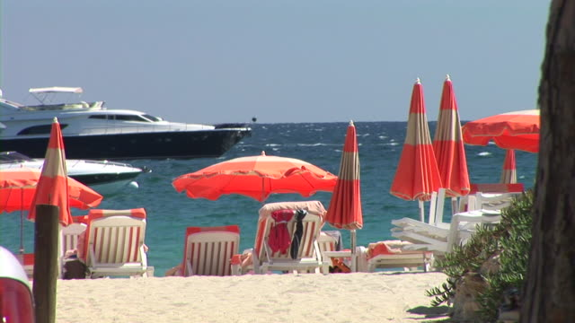 hd: st. tropez beach - anchored stock videos & royalty-free footage
