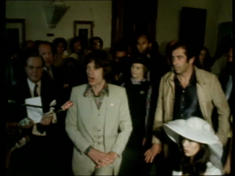 may in 1971 mick jagger marries bianca st tropez mick jagger with his bride bianca peres moreno de macias as along through crowds of people int... - rolling stones stock videos & royalty-free footage