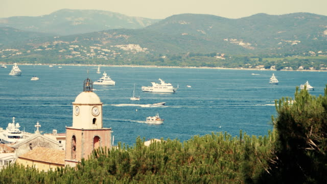 st tropez old town aerial view - bay of water stock videos & royalty-free footage