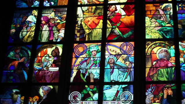 st. vitus cathedral, new archbishop chapel, mucha stained-glass window, prague, czech republic - bohemia czech republic stock videos & royalty-free footage