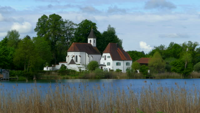st. walburgis church near seeon monastery on lake seeon, chiemgau, bavaria, germany, europe - circa 14th century stock videos & royalty-free footage