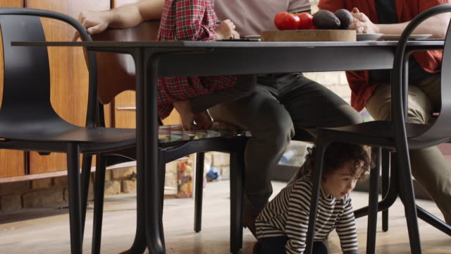 ms, stabilized handheld - young child running under family dining table - mid adult couple stock videos & royalty-free footage