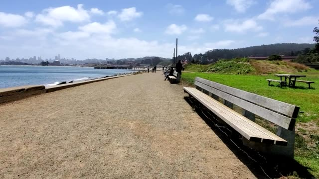 stabilized shot moving along waterfront path near crissy field in the presidio san francisco california june 28 2020 - dolly shot stock videos & royalty-free footage