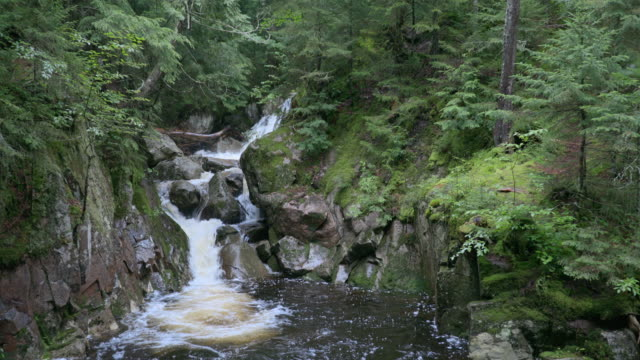 4K Stabilized Shot of a Waterfall in Forest, Quebec, Canada