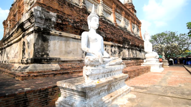 Stabilized Shot Of Buddha Statue In Ayutthaya Historical Park, Thailand