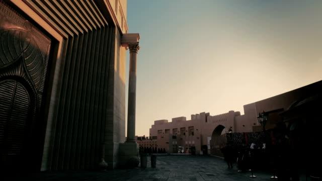 Stabilized tracking shot in the Katara Cultural Village in Doha, Qatar