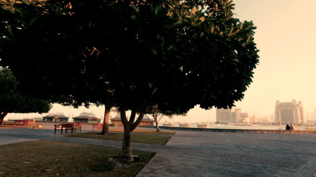 stockvideo's en b-roll-footage met stabilized tracking shot in the katara cultural village in doha, qatar - qatar