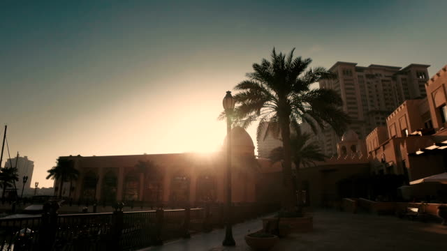 "stabilized tracking shot in ""the pearl-qatar"" in doha, qatar - doha stock videos & royalty-free footage"