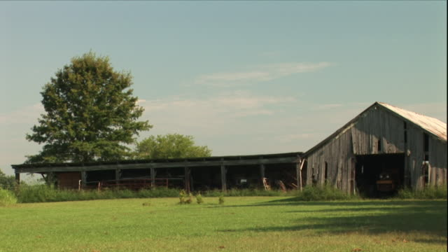 a stable is attached to a barn. - pferdestall stock-videos und b-roll-filmmaterial