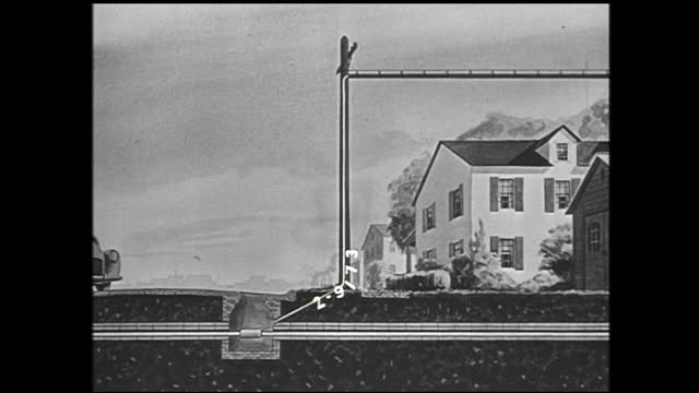 stable view of telephone on the table; animation tracking view of signal being transmitted through telephone cable over neighborhood to office... - 1940 1949 bildbanksvideor och videomaterial från bakom kulisserna