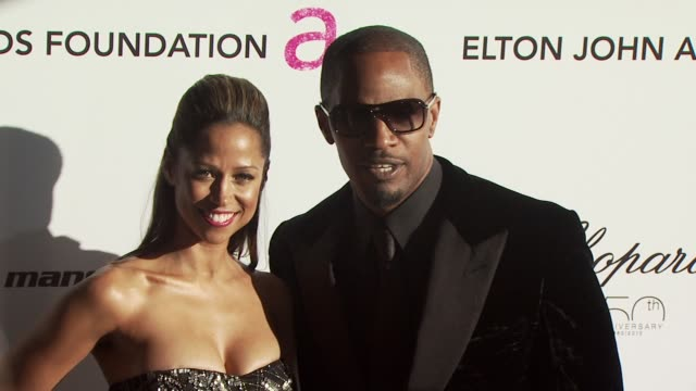 stacey dash and jamie foxx at the 18th annual elton john aids foundation oscar party at west hollywood ca. - oscar party stock videos & royalty-free footage