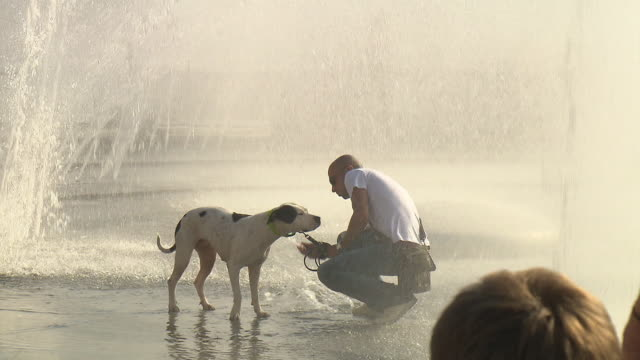 Stachus / Karlsplatz, a man walking with his dog through the water, fountain