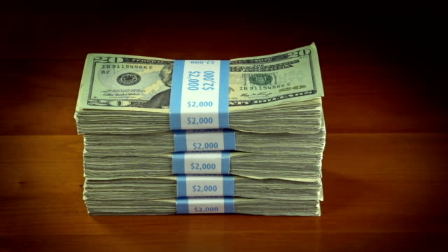 stack of 20 dollar bills - stack stock videos and b-roll footage