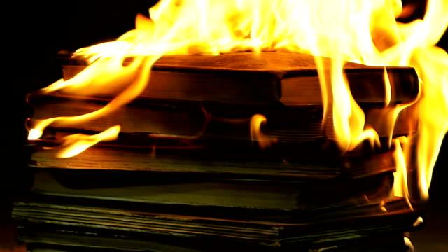 vidéos et rushes de pile de livres à brûler - brûler