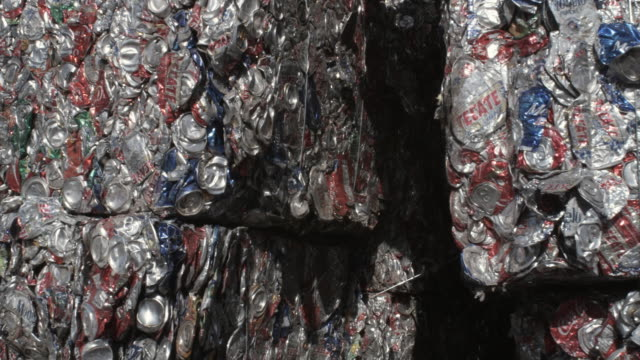 cu pan stack of bundled aluminum cans at recycling centre, dallas, texas, usa - aluminium stock videos & royalty-free footage