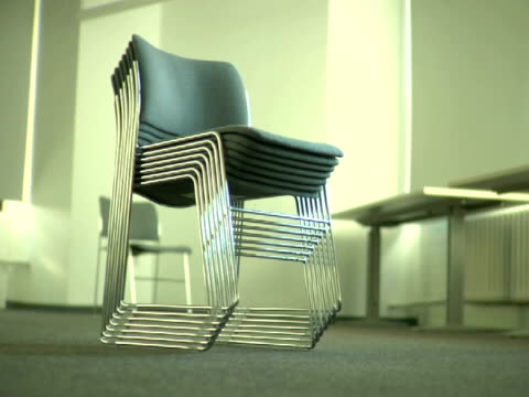 ms, stack of chairs - medium group of objects stock videos & royalty-free footage