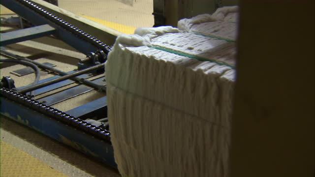 vídeos y material grabado en eventos de stock de stack of cotton moves along a conveyor belt. - cotton