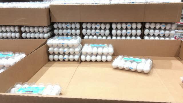 stack of eggs in costco wholesale store amid the global coronavirus pandemic. - catena di negozi video stock e b–roll