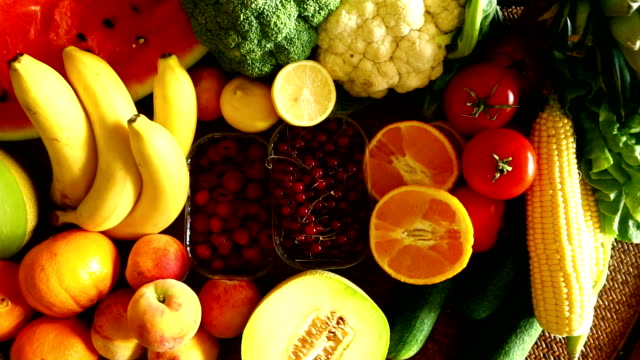 stack of fresh fruits and vegetables. - large group of objects stock videos & royalty-free footage