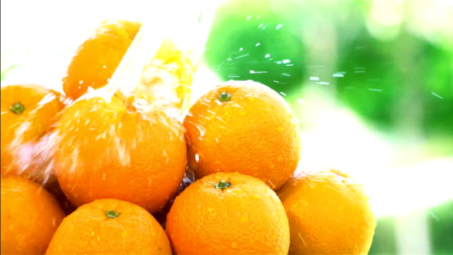 Stack of Fresh Orange - Slow Motion