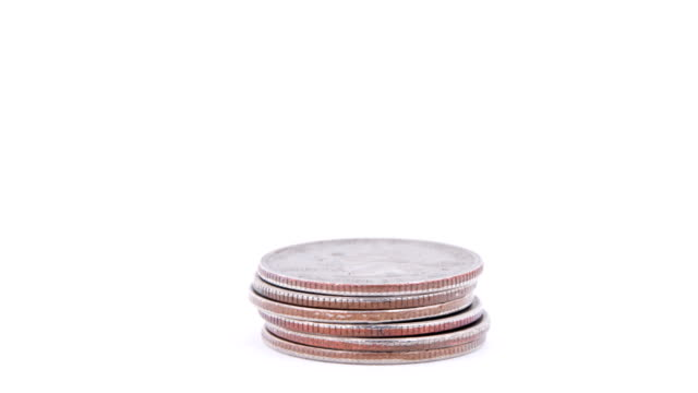stack of quarters rising-isolated on white - coin stock videos & royalty-free footage