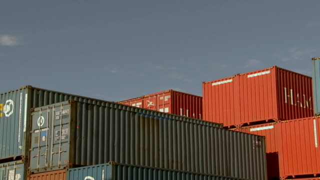 ms stacked cargo containers in container yard/ sydney, australia - medium group of objects stock videos & royalty-free footage