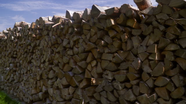 stacked logs - firewood stock videos & royalty-free footage