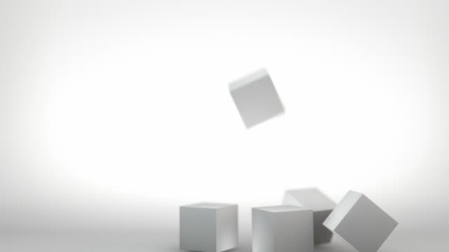 3d stacking cubes animation - grey (full hd) - toy block stock videos and b-roll footage