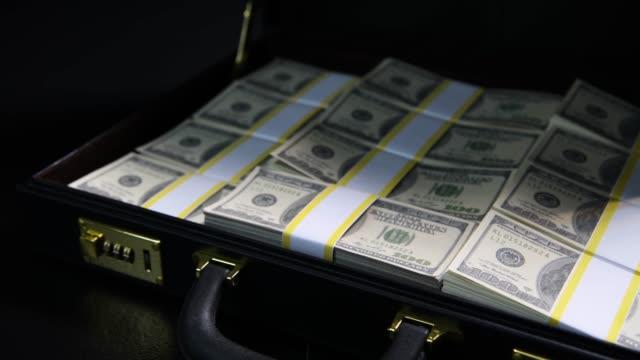 Stacks of 100 dollar bills in a briefcase