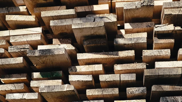 vidéos et rushes de piles de planches de bois séchées - chantier de scierie