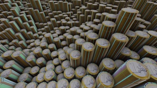 vidéos et rushes de piles de pièces en euros - grand duché du luxembourg