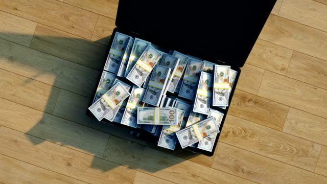 stacks of new 100 dollar bills in a briefcase - briefcase stock videos & royalty-free footage