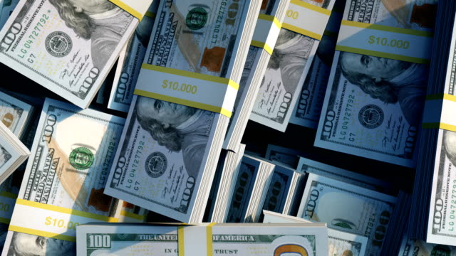 vídeos de stock e filmes b-roll de stacks of new 100 dollar bills - nota de dólar dos estados unidos