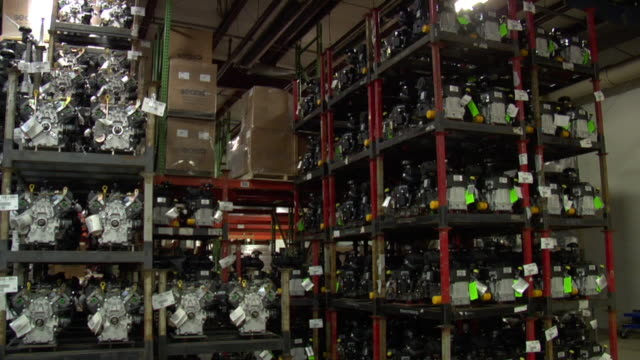 Stacks of parts and inventory in a US manufacturing factory.