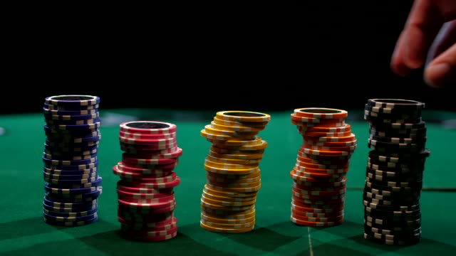 stacks of poker chips - gambling chip stock videos and b-roll footage