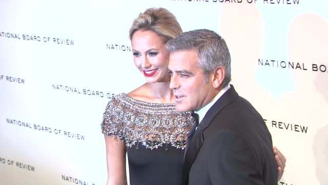 stacy keibler george clooney at national board of review awards gala red carpet at cipriani 42nd street on 1/10/2012 in new york city ny - george clooney stock videos and b-roll footage