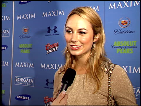 Stacy Keibler on why she's at the party and why she enjoys reading Maxim magazine at the Maxim Celebration of Super Bowl XLI at Htel de Maxim in...