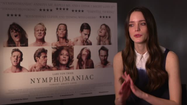 Stacy Martin talks about her family and boyfriend's reaction to the sex scenes at 'Nymphomaniac' Interviews at Soho Hotel on February 21 2014 in...