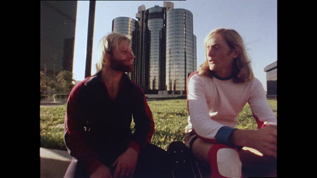 """stacy peralta, a professional skateboarder, talks about skateboarding being a high performance sport saying skateboarding is """"one of the most highly... - anno 1978 video stock e b–roll"""