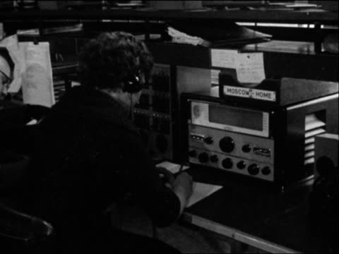 Staff at the BBC's monitoring service listen to Russian radio broadcasts on Yuri Gagarin's space flight