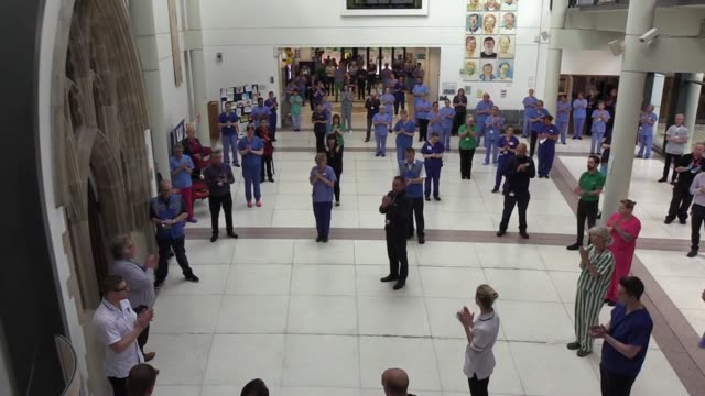 staff at the mater infirmorum hospital in belfast, staff and patients at royal derby hospital, and staff at st thomas' hospital in london gather to... - northern ireland stock videos & royalty-free footage