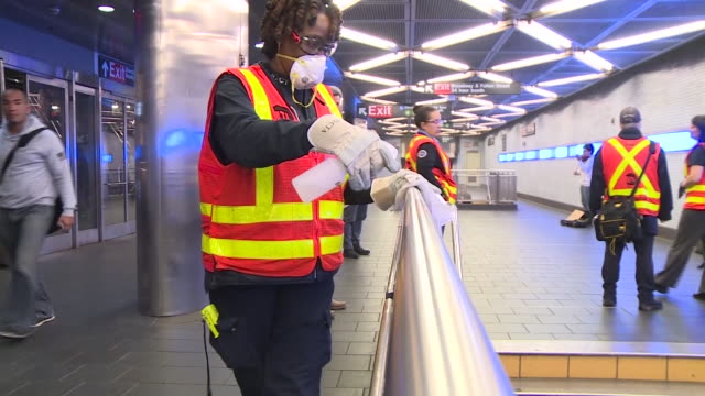 mta staff disinfecting nyc subway cleaning rails elevators platforms - cleaning stock videos & royalty-free footage