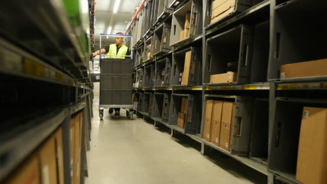 Staff member walking through the logistic center shelves