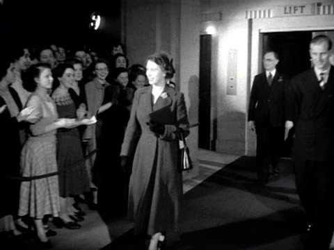bbc staff members applaud as the queen and the duke of edinburgh leave bbc broadcasting house 1953 - 1953 stock videos and b-roll footage