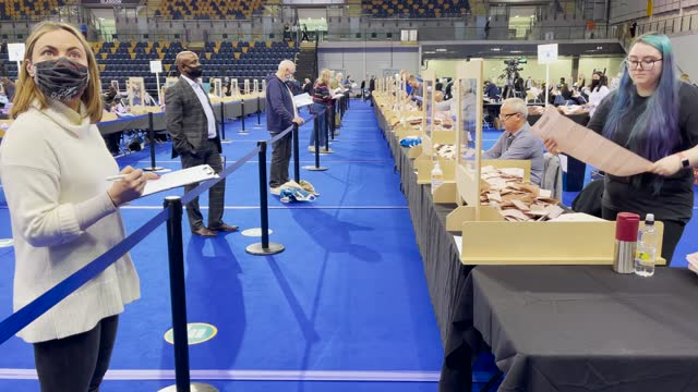 staff members empty a ballot box at the main glasgow counting centre in the emirates arena on may 7 in glasgow, scotland. members of the public have... - document stock videos & royalty-free footage