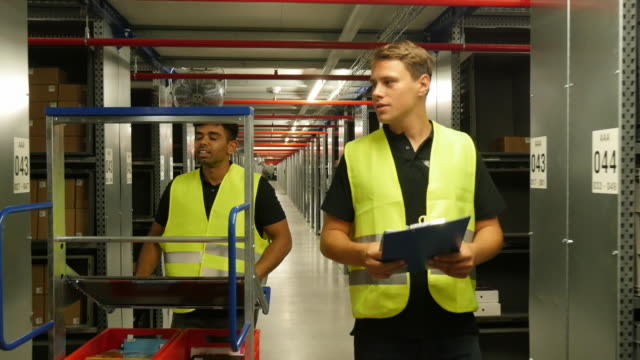 vidéos et rushes de staff members in a warehouse sorting merchandise - poste