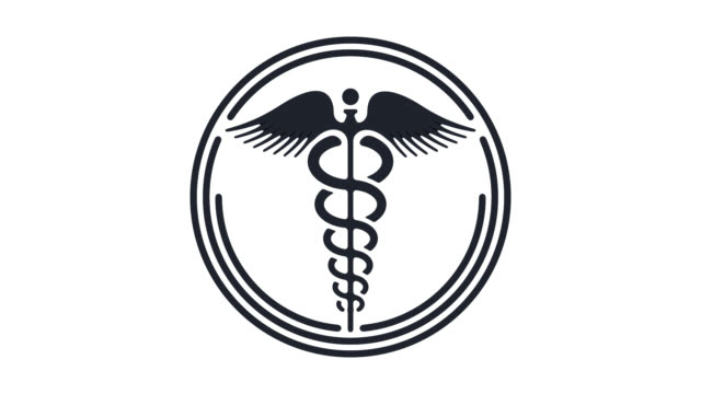 staff of hermes flat line icon animation with alpha - caduceus stock videos and b-roll footage