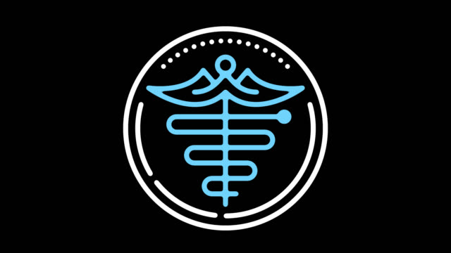 Staff of Hermes Line Icon Animation with Alpha